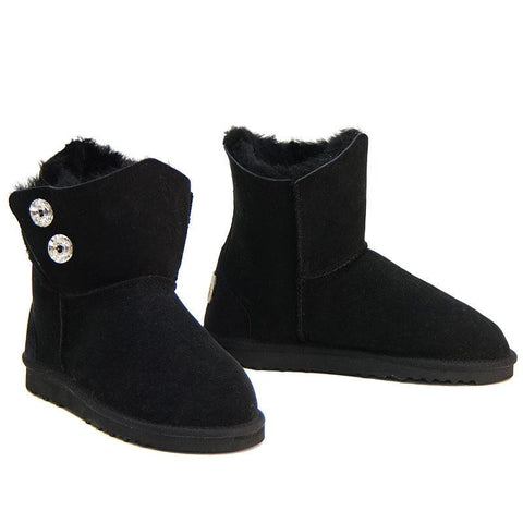 Swarovski Gemstone Sheepskin Ugg Boots - Black