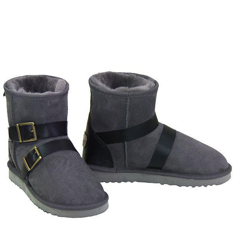 Swell Buckle Strap Sheepskin Ugg Boots - Grey