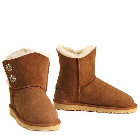 Swarovski Gold Gemstone Sheepskin Ugg Boots - Chestnut