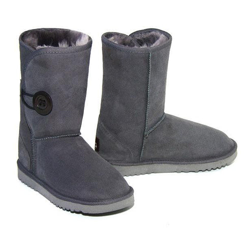 Button Wraps Ugg Boots - Grey