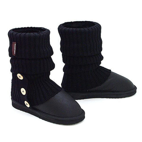 Knitted Ugg Socks & Short Bomber Boots - Black