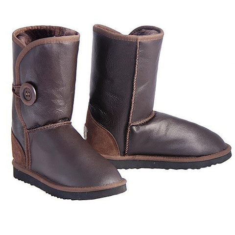 Bomber Button Wraps Ugg Boots - Chocolate
