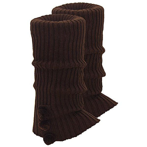 Knitted Ugg Socks - 3 PomPom Chocolate