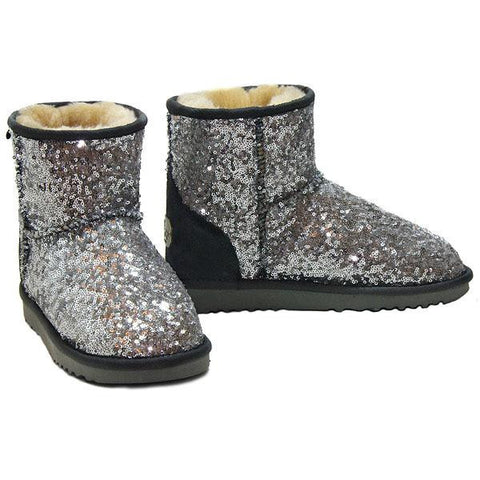 Shimmer Mini Ugg Boots - Silver