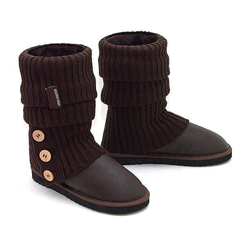 Knitted Ugg Socks & Short Bomber Boots - Chocolate