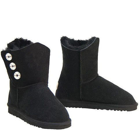 Swarovski Gemstone 3/4 Sheepskin Ugg Boots - Black
