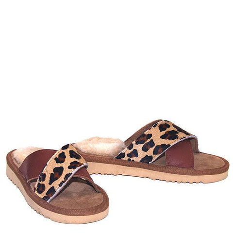 Cross Sheepskin Sandals Chestnut-Leopard