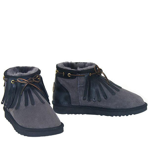 Kiltie Ultra Short Sheepskin Ugg Boots - Grey