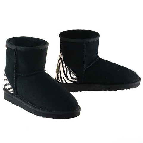 Safari Mini Ugg Boots - Zebra Black