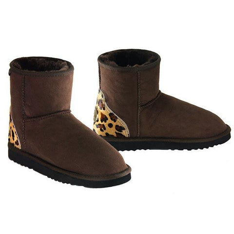 Safari Mini Ugg Boots - Leopard Chocolate