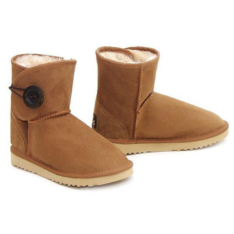 Button Wraps Mini Ugg Boots - Chestnut