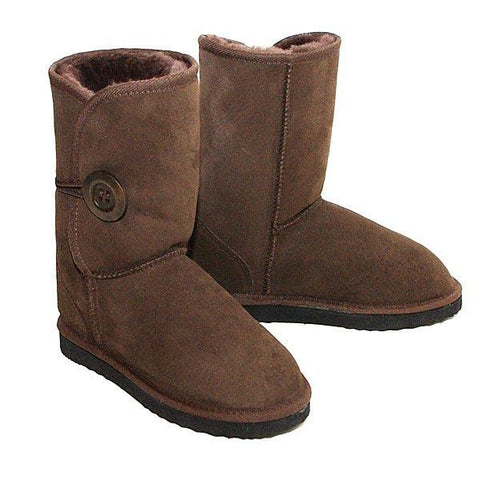 Button Wraps Ugg Boots - Chocolate