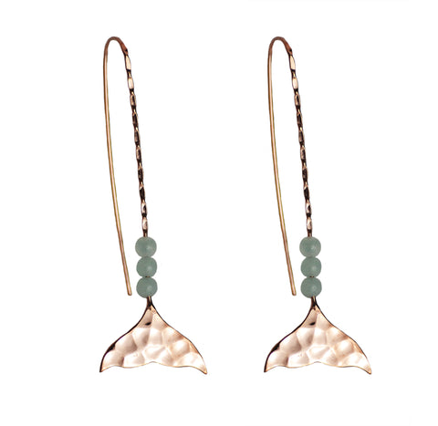 Rose Gold Mermaid Tail Earrings