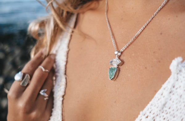 Hina Power Pendant with Aqua Marine & Herkimer Diamond