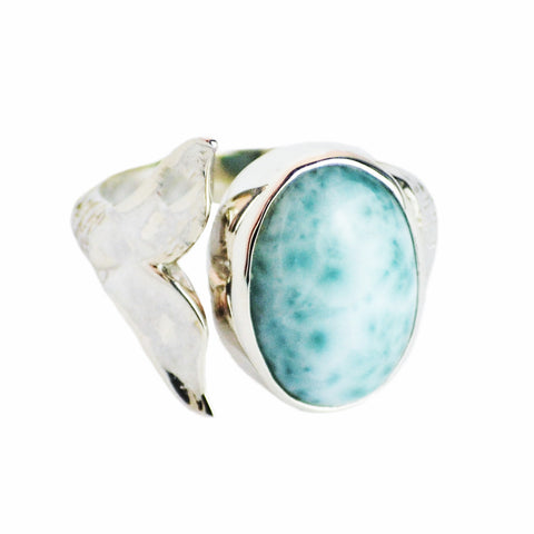 Leah Mermaid Tail Ring Larimar