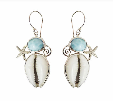 Atlantis Larimar & Cowrie Earrings