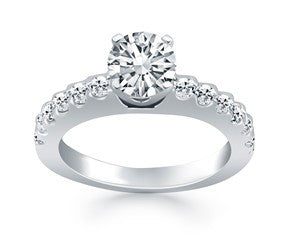 Diamond Micro Prong Cathedral Engagement Ring