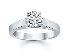 Wide Cathedral Solitaire Engagement Ring
