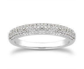 Tripple row micro pave diamond wedding band