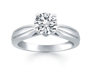 Tapered Engagement Ring in 14K White Gold