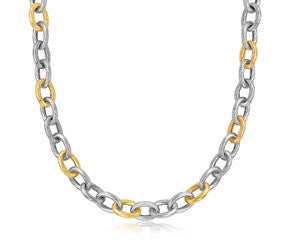 Diamond Cut Chain Rhodium Plated Necklace in 18K Yellow Gold and Sterling Silver