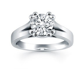 Double Prong Split Shank Cathedral Engagement Ring