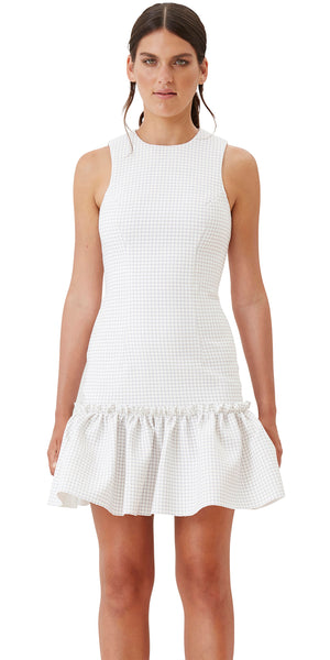 Neutral Grid Gather Mini Dress - Neutral Grid