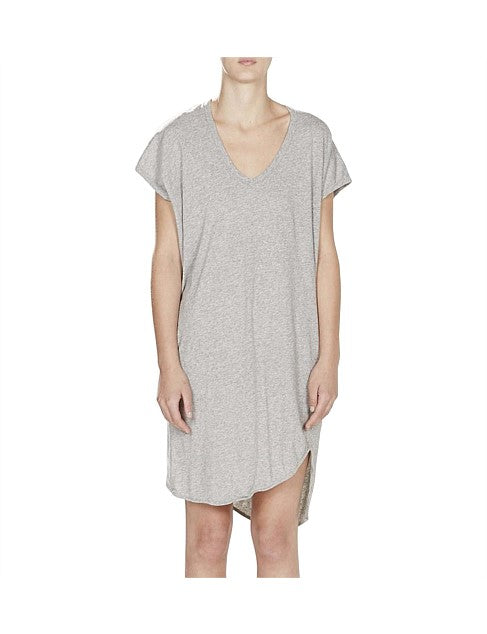 Boxy T-Shirt Dress w/Tail II - Grey Marl