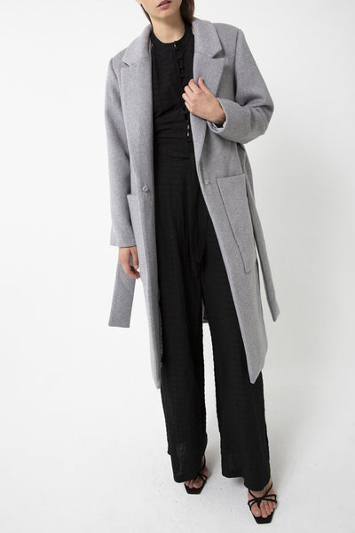 Tied Down Coat - Grey Marle