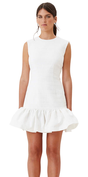 Texture Weave Gather Mini Dress - White