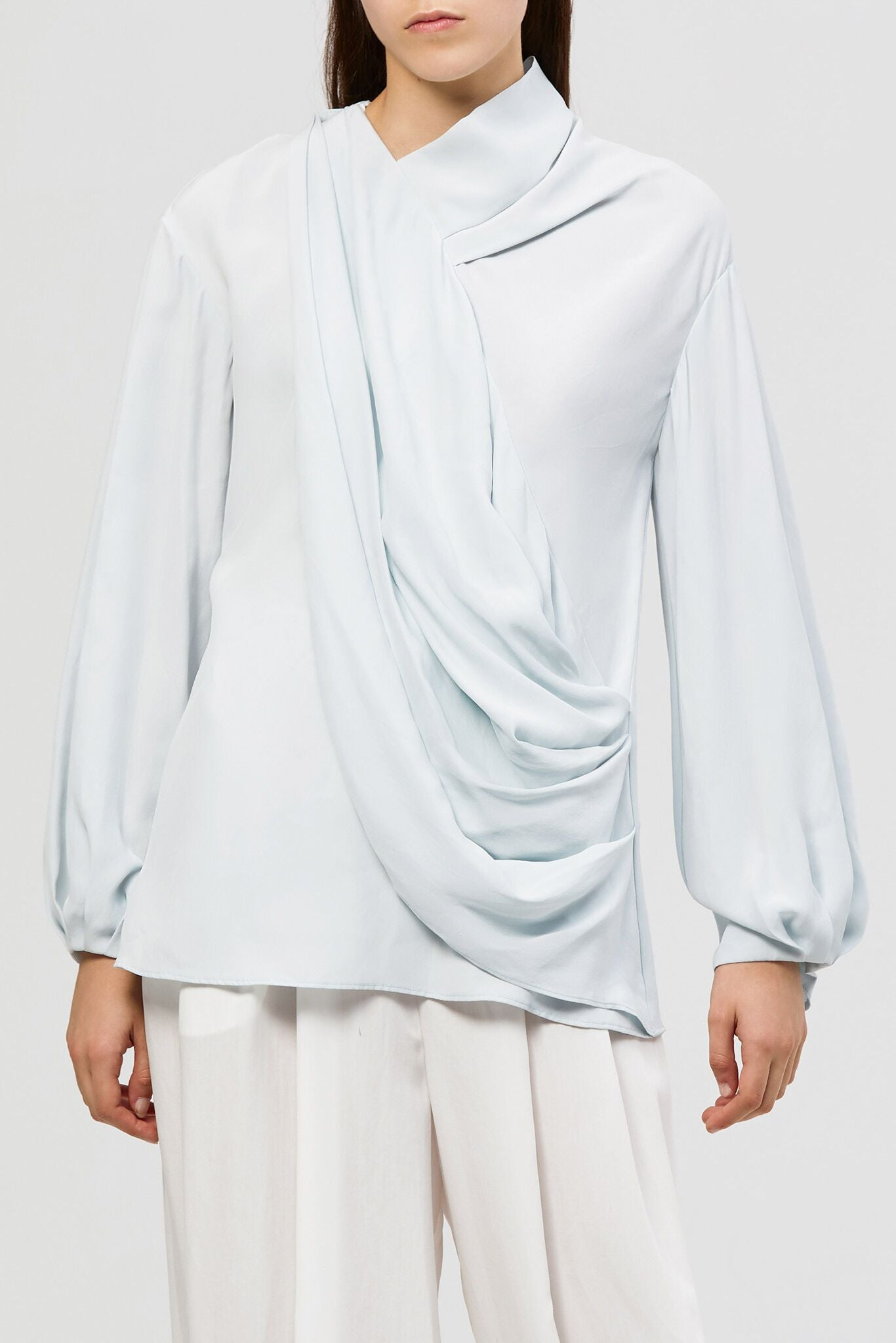 Alma Silk Blouse - Ice Blue