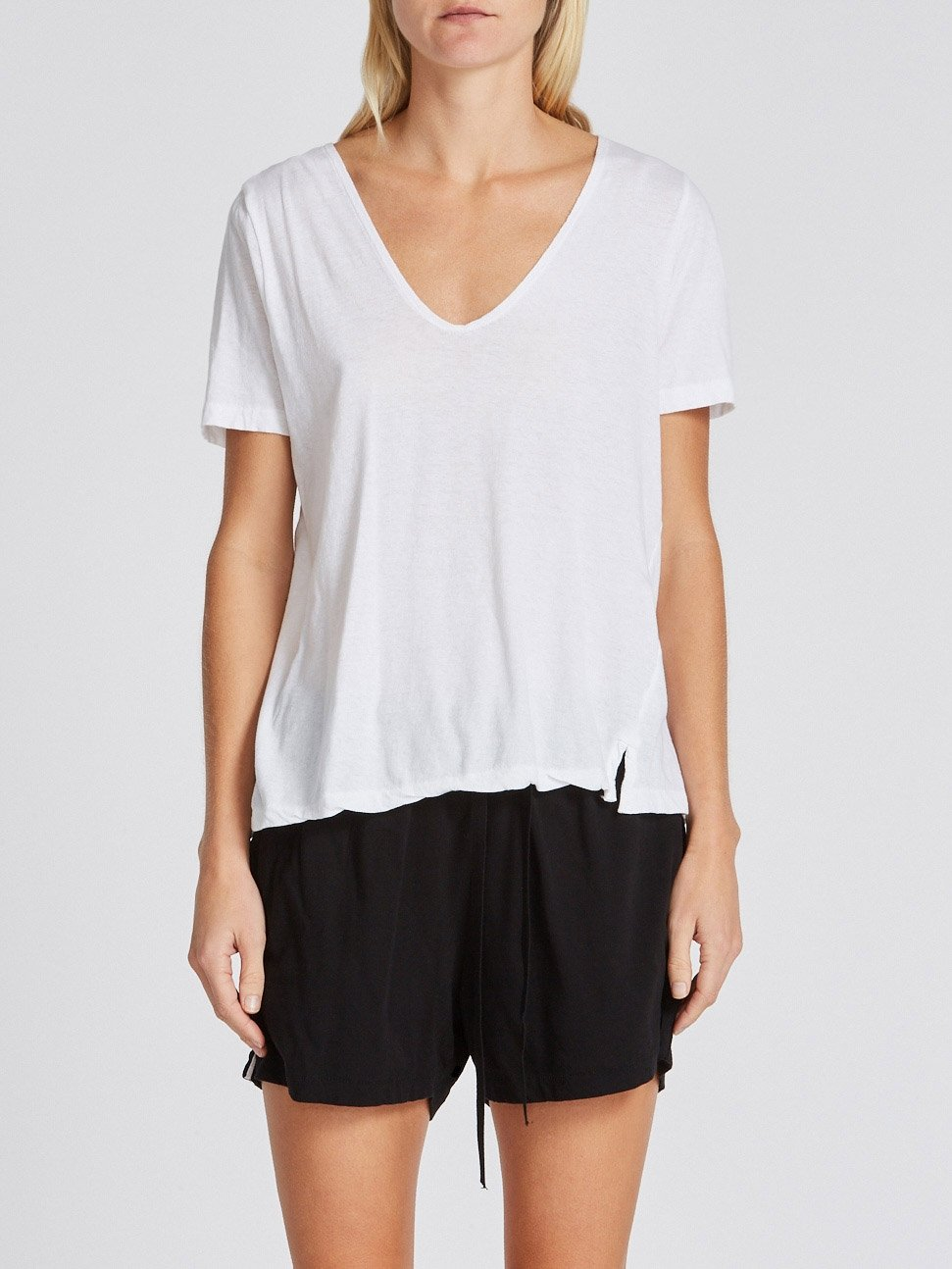 Minimal V Neck T-Shirt - White