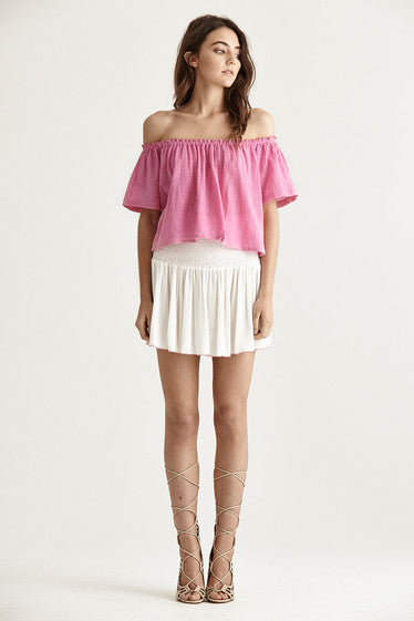 Santo Skirt - Off Wht/Pnk Stitch