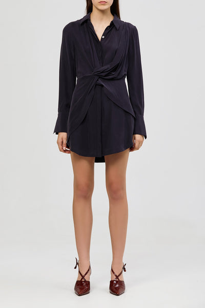 Alma Silk Shirt Dress - Deep Navy