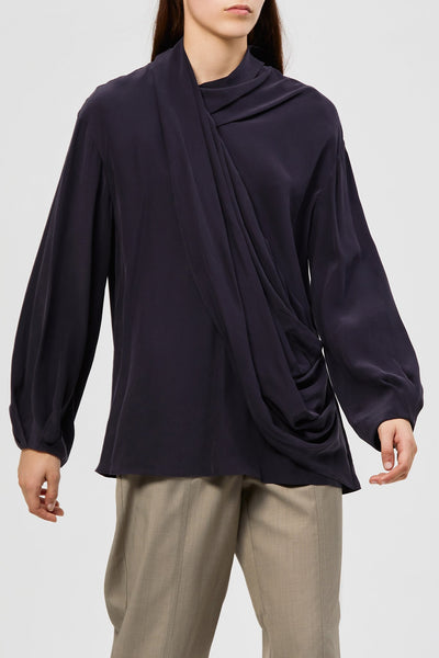 Alma Silk Blouse - Deep Navy
