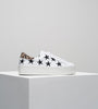 Bella - White Leather/Leopard Suede