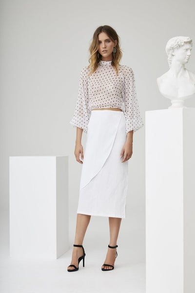 Marceau Long Sleeve Crop - White Polka Dot