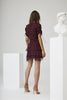 Marceau Detailed Mini Dress - Plum Polka Dot