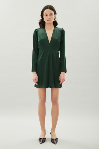 Katie Silk Dress - Pine Green