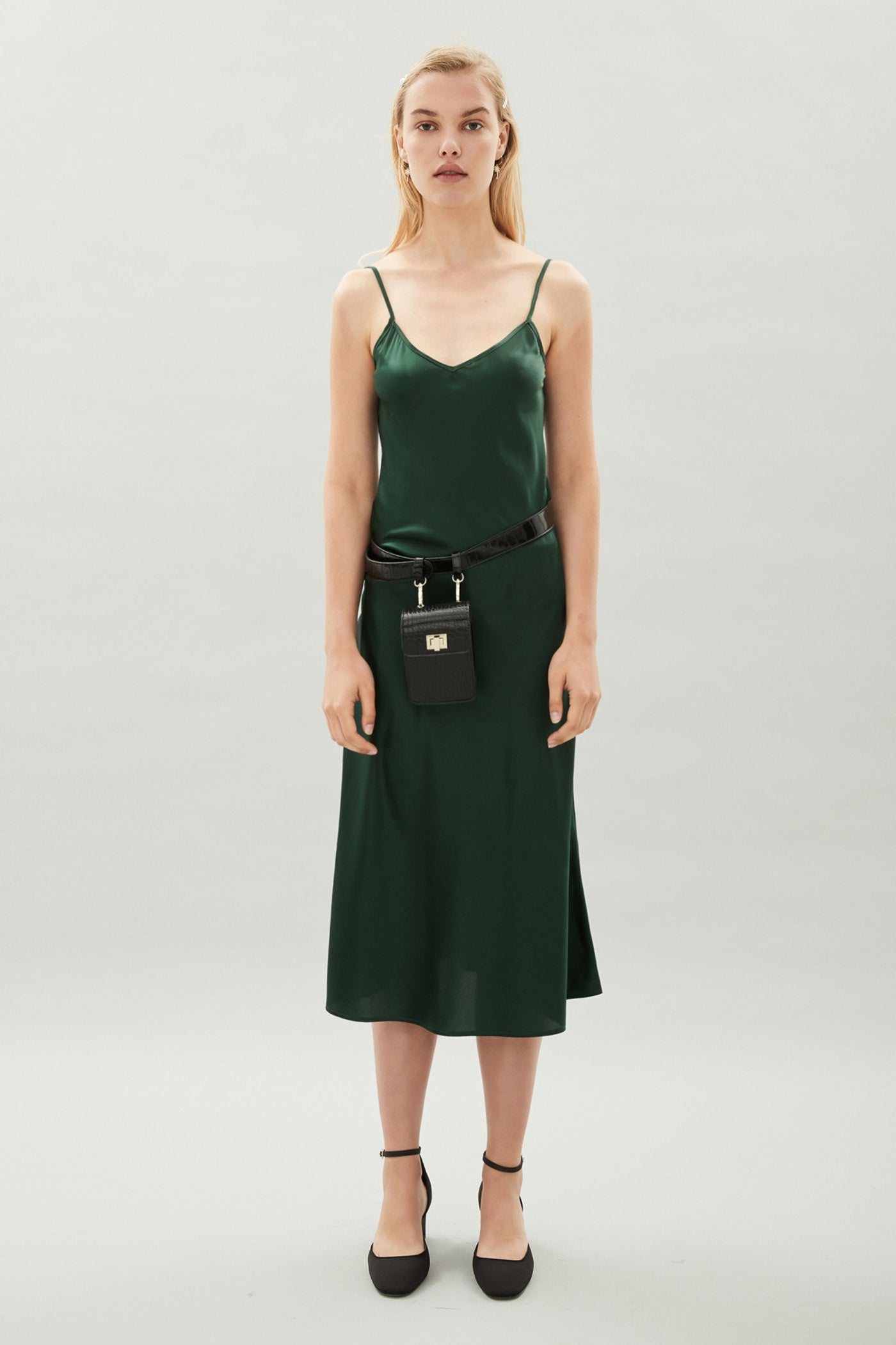 Sarah Silk Dress - Pine Green