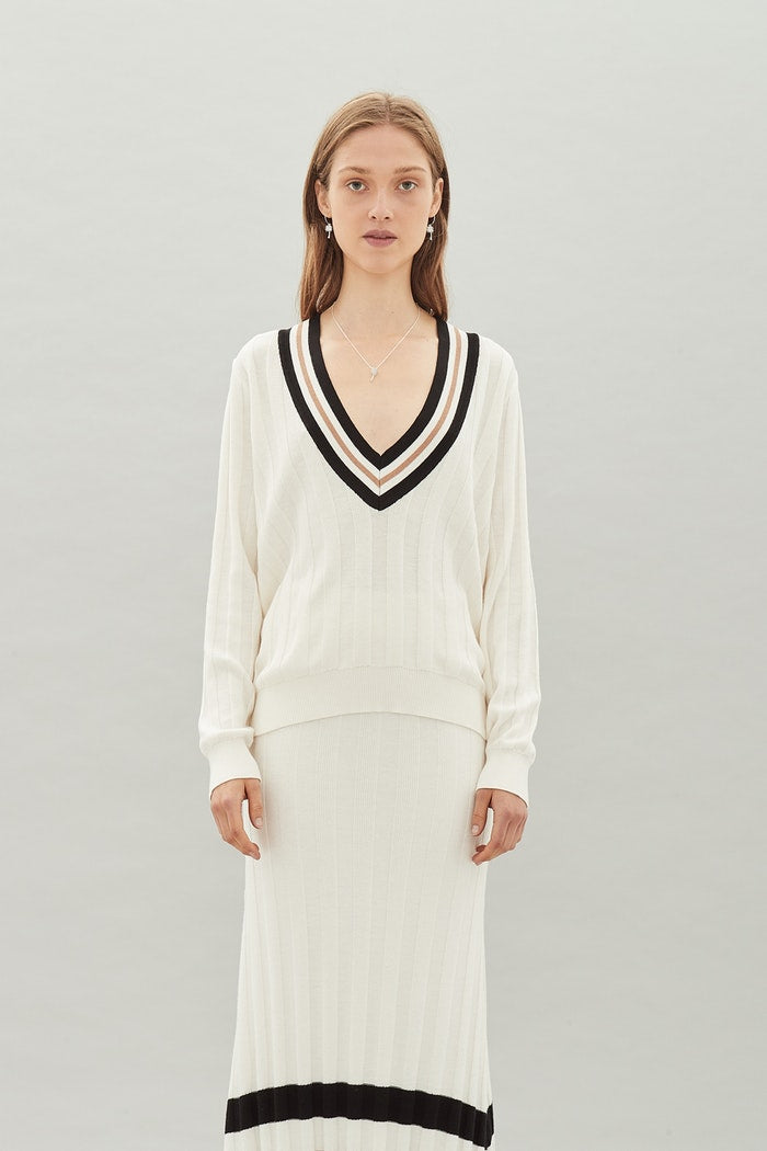 Clubhouse Cashmere Jumper - White Stripe