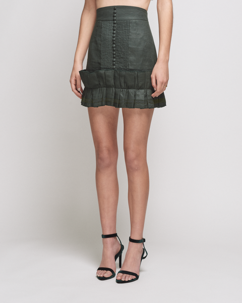 Lola Linen Crochet Skirt - Forest Green