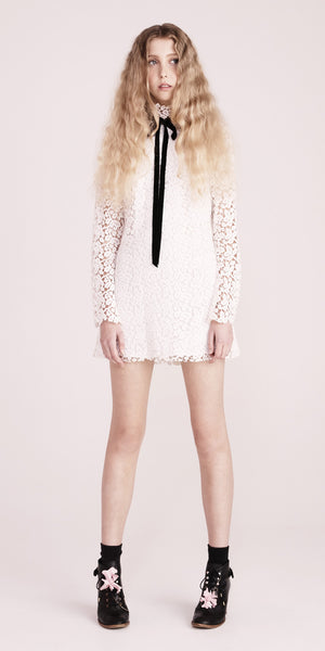 Ribbon Dress - White Lace