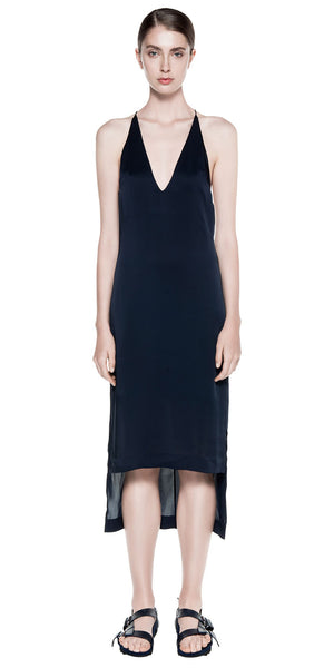 Satin Fine Line Cami Dress - Navy