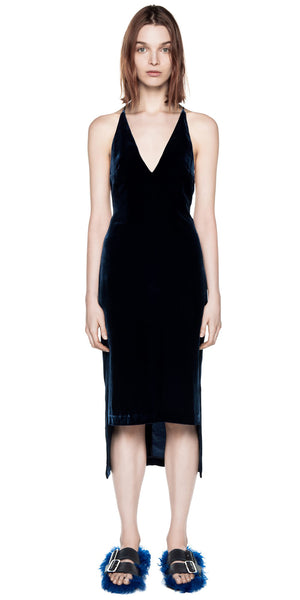 Silk Velvet Fine Line Cami Dress - Navy