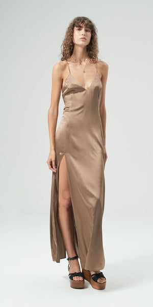 Zen Silk Dress - Coffee