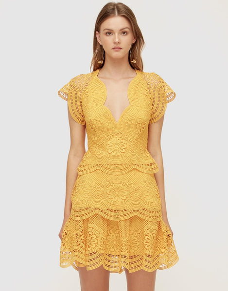 Eloise Lace Mini Dress - Sunflower