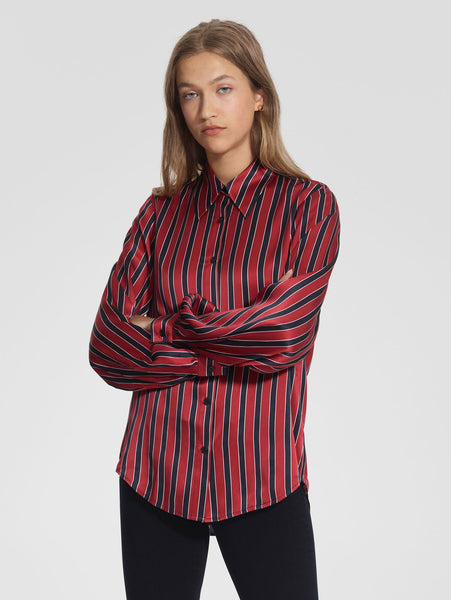 Raya Silk Shirt - Mixed Stripe