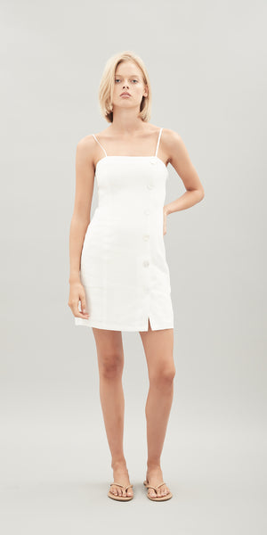 Mia Linen Dress - White