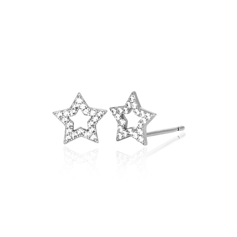 Shooting Star Studs - White Gold